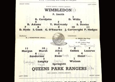 QPR v Wimbledon 11.08.1966 (friendly)