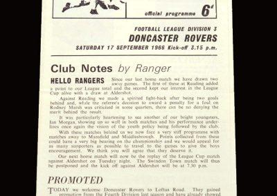 QPR v Doncaster 17.09.1966