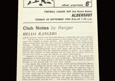 QPR v Aldershot 20.09.1966 - 2nd Round Replay