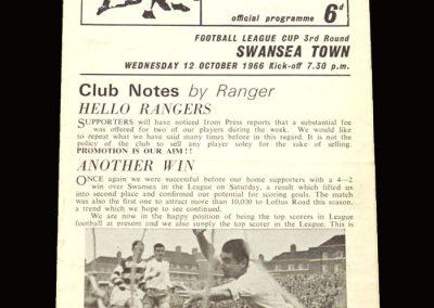 QPR v Swansea 12.10.1966 - League Cup 3rd Round