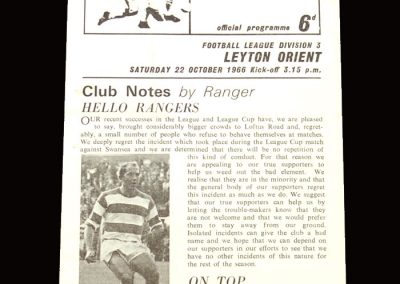 QPR v Leyton Orient 22.10.1966