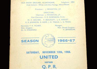QPR v Scunthorpe 12.11.1966