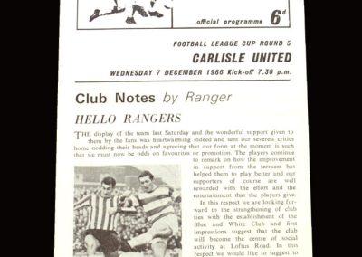 QPR v Carlisle 07.12.1966 - League Cup 5th Round