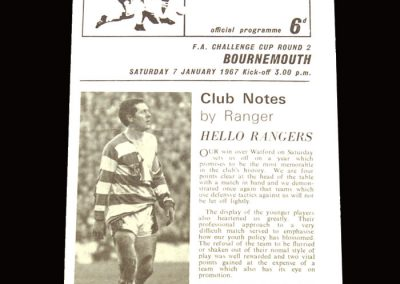 QPR v Bournemouth 07.01.1967 - FA Cup 2nd Round