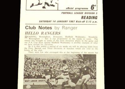QPR v Reading 14.01.1967