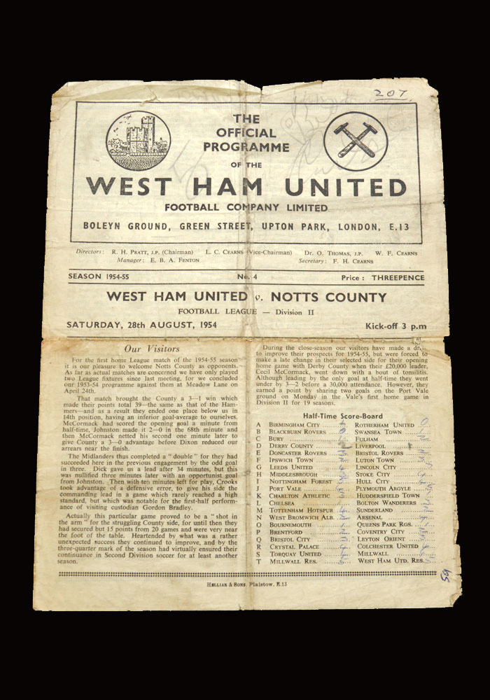 West Ham v Notts County 28.08.1954