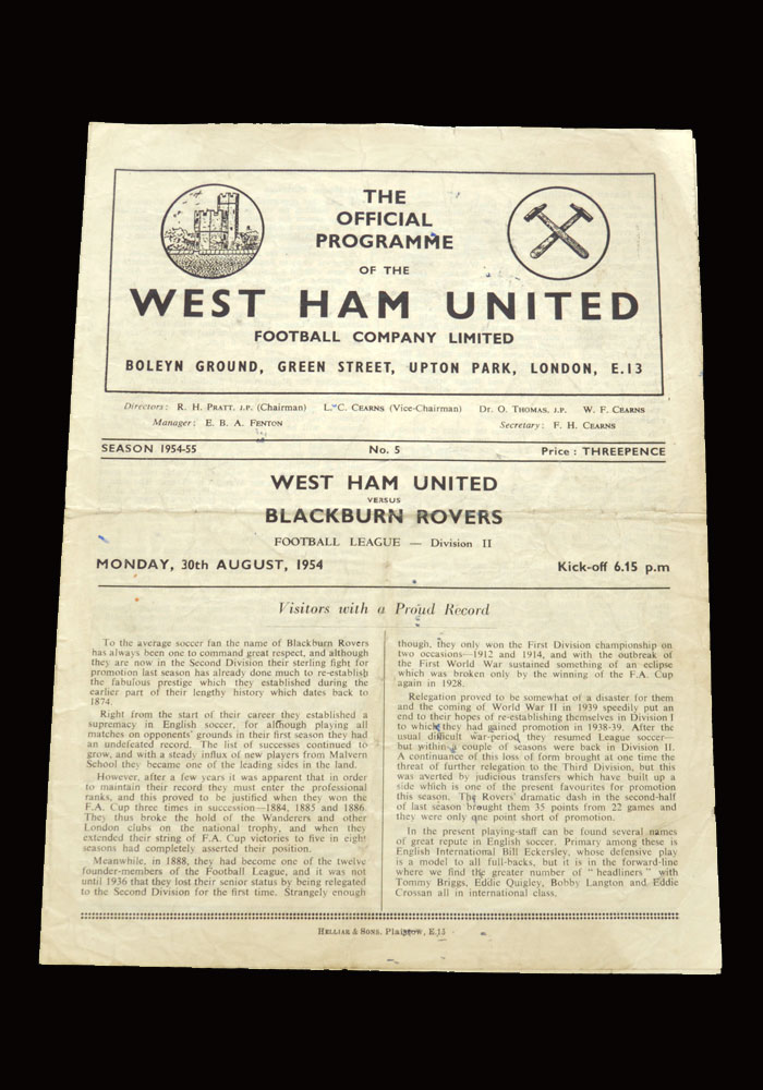 West Ham v Blackburn 30.08.1954