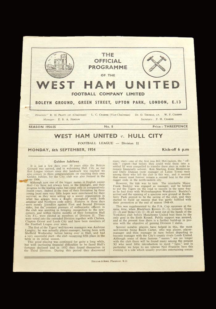 West Ham v Hull 06.09.1954