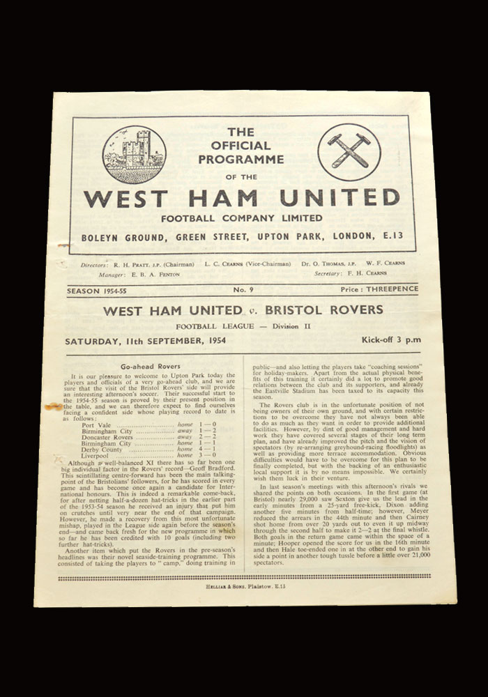 West Ham v Bristol Rovers 11.09.1954