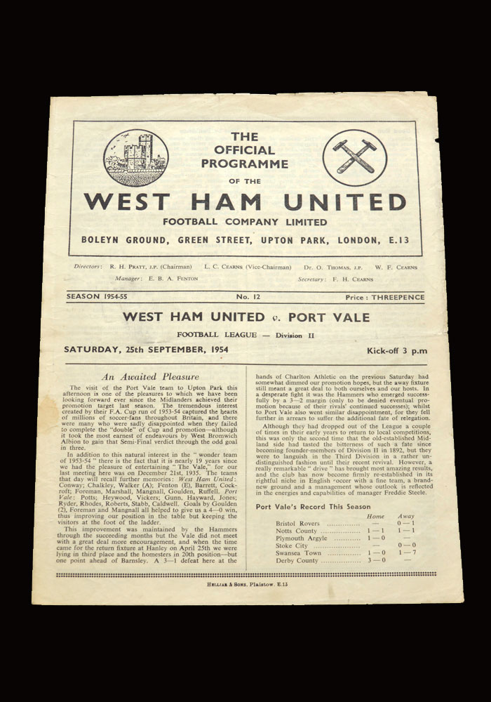 West Ham v Port Vale 25.09.1954