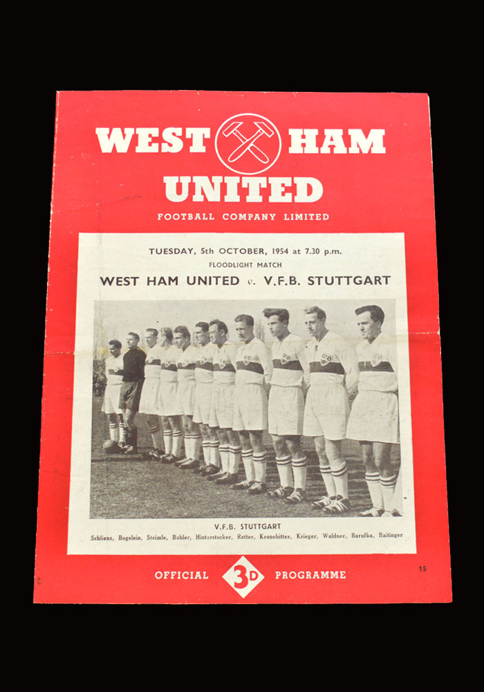 West Ham v VFB Stuttgart 05.10.1954 (friendly)