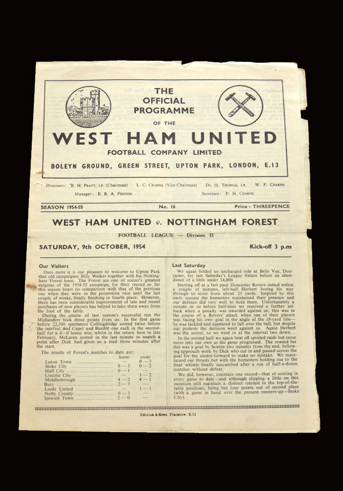 West Ham v Notts Forest 09.10.1954