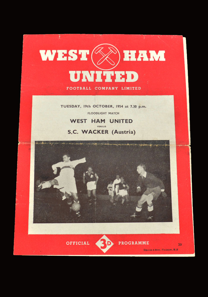 West Ham v SC Wacker 19.10.1954 (friendly)