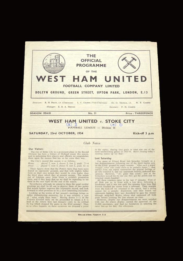West Ham v Stoke 23.10.1954