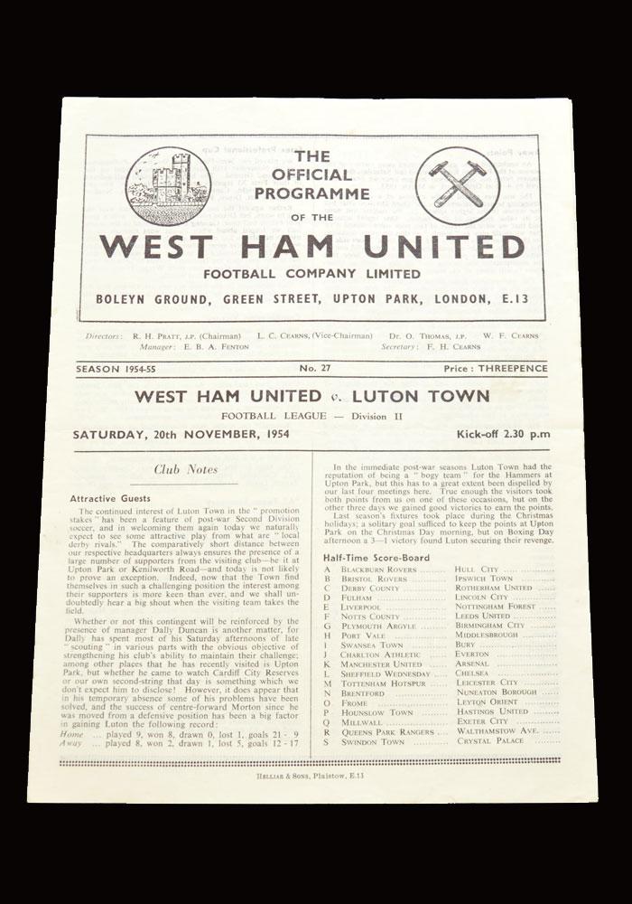 West Ham v Luton 20.11.1954