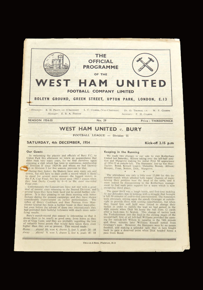 West Ham v Bury 04.12.1954