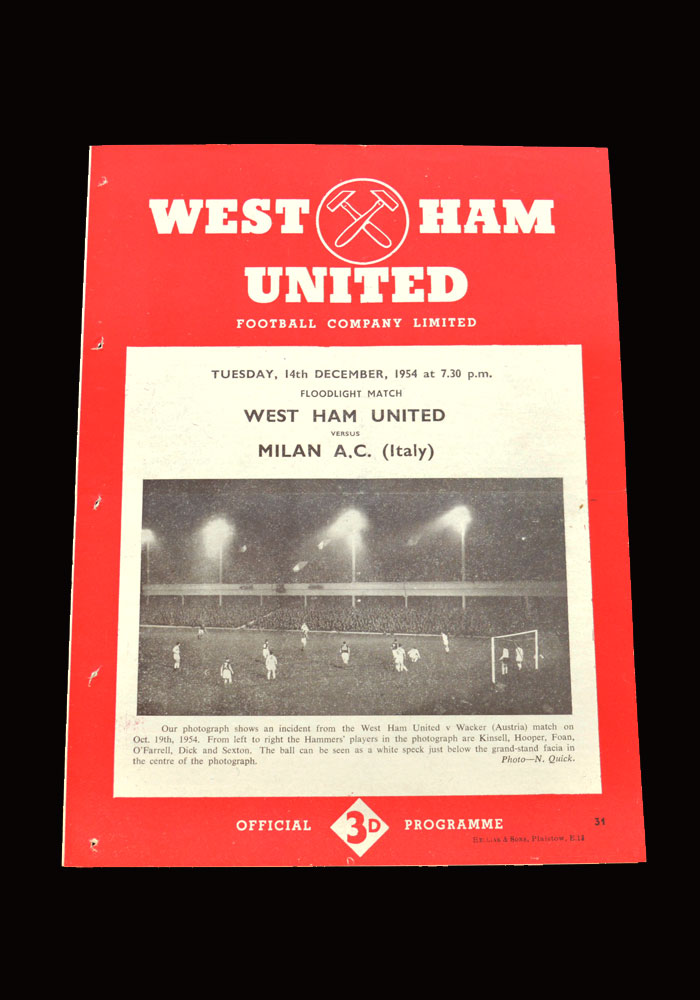 West Ham v AC Milan 14.12.1954 (friendly)