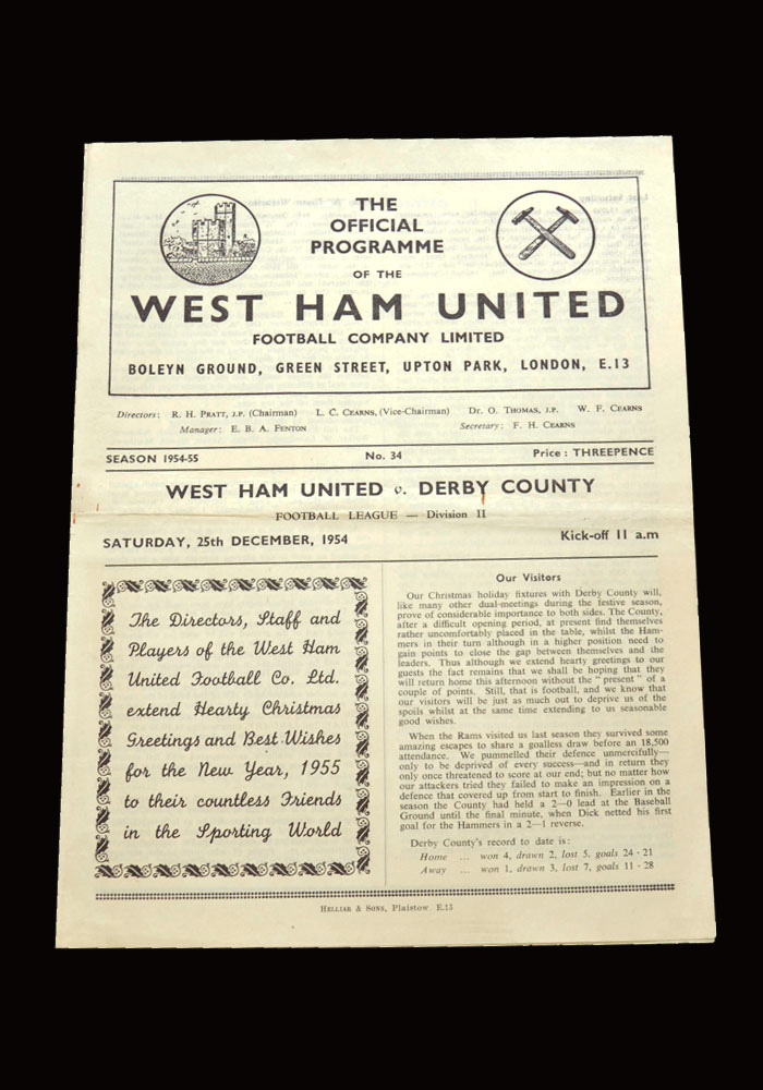 West Ham v Derby 25.12.1954