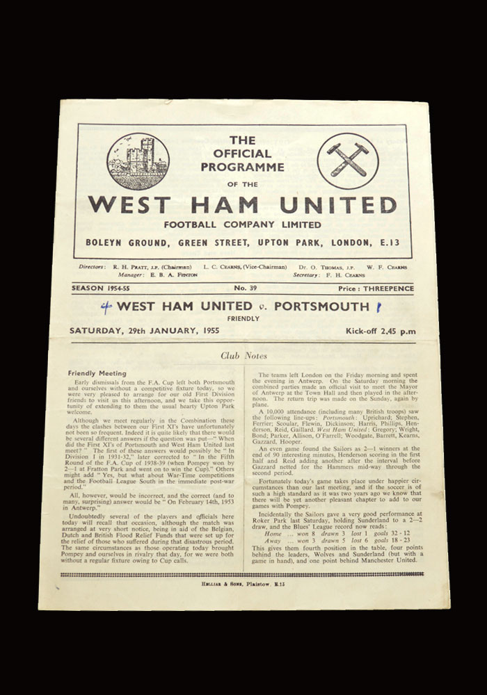 West Ham v Portsmouth 29.01.1955 (friendly)