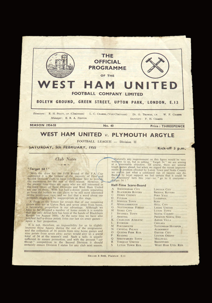 West Ham v Plymouth 05.02.1955