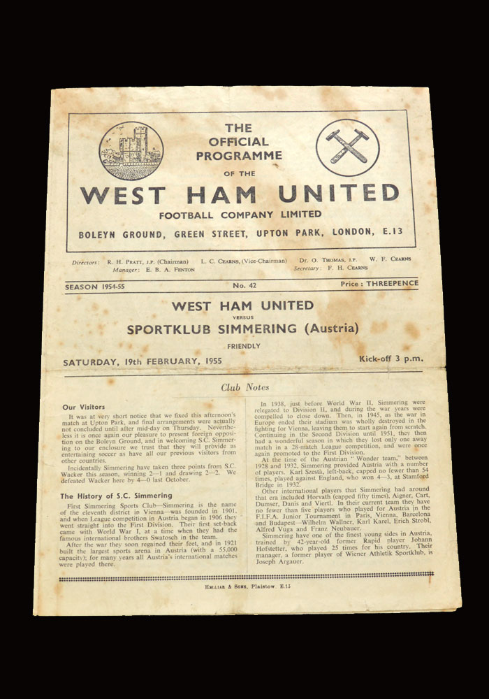 West Ham v Sportklub Simmering 19.02.1955 (friendly)