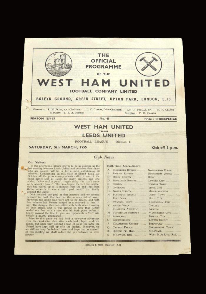 West Ham v Leeds 05.03.1955