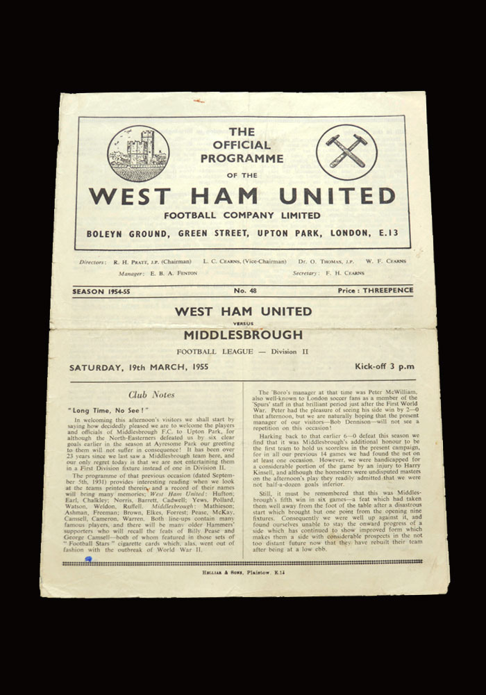 West Ham v Middlesbrough 19.03.1955