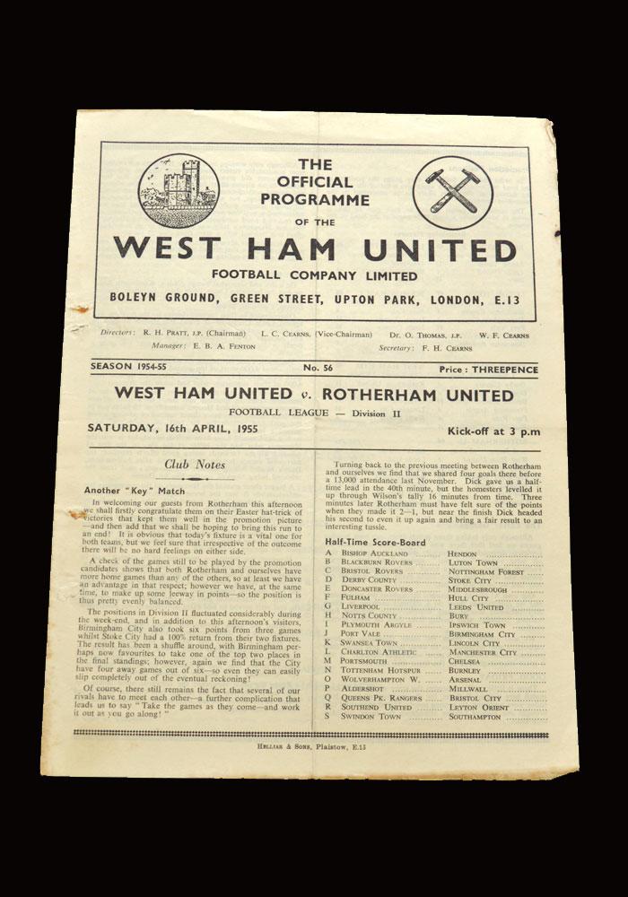 West Ham v Rotherham 16.04.1955