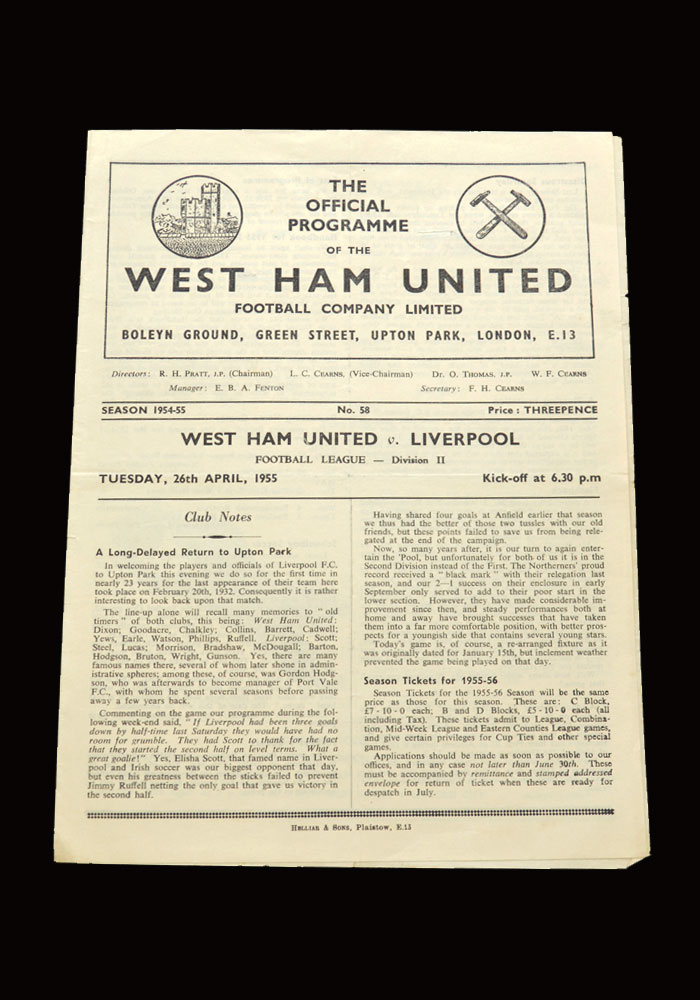 West Ham v Liverpool 26.04.1955
