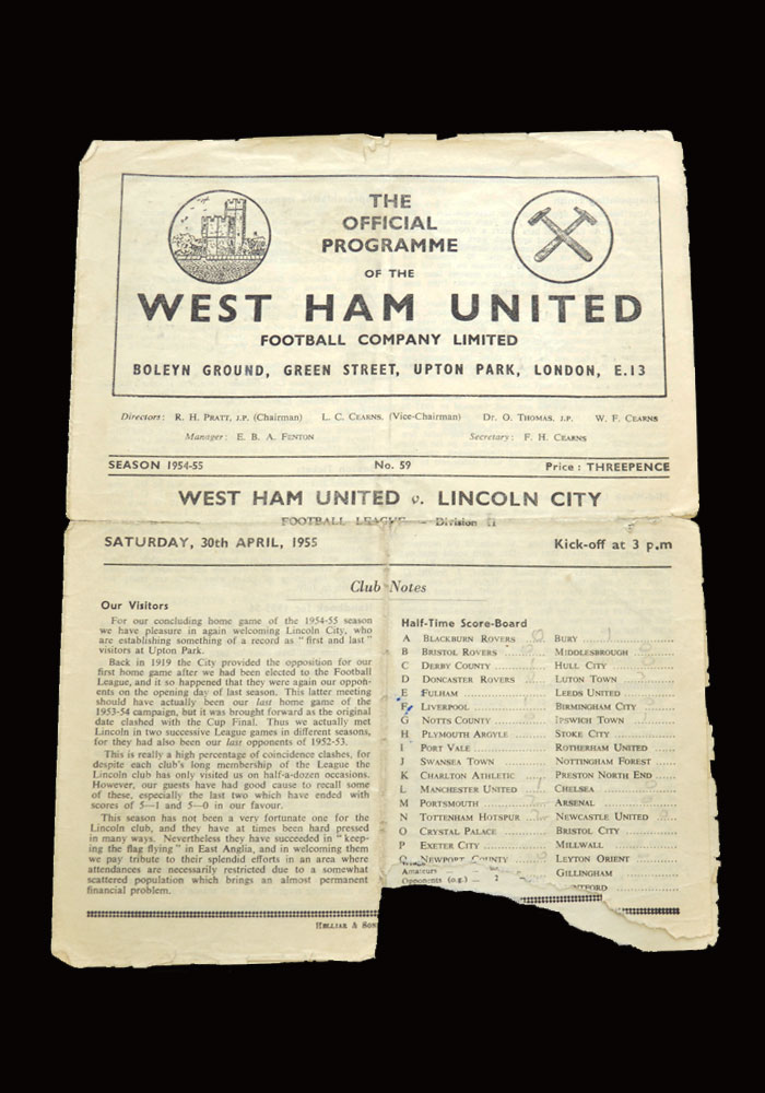 West Ham v Lincoln 30.04.1955