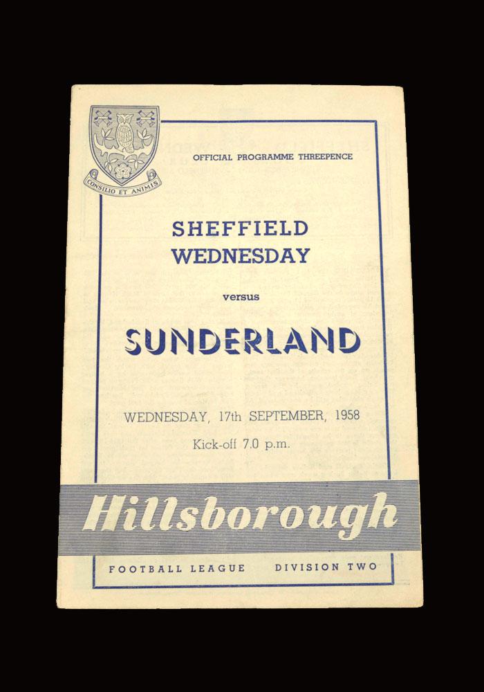 Sunderland v Sheff Wed 17.09.1958