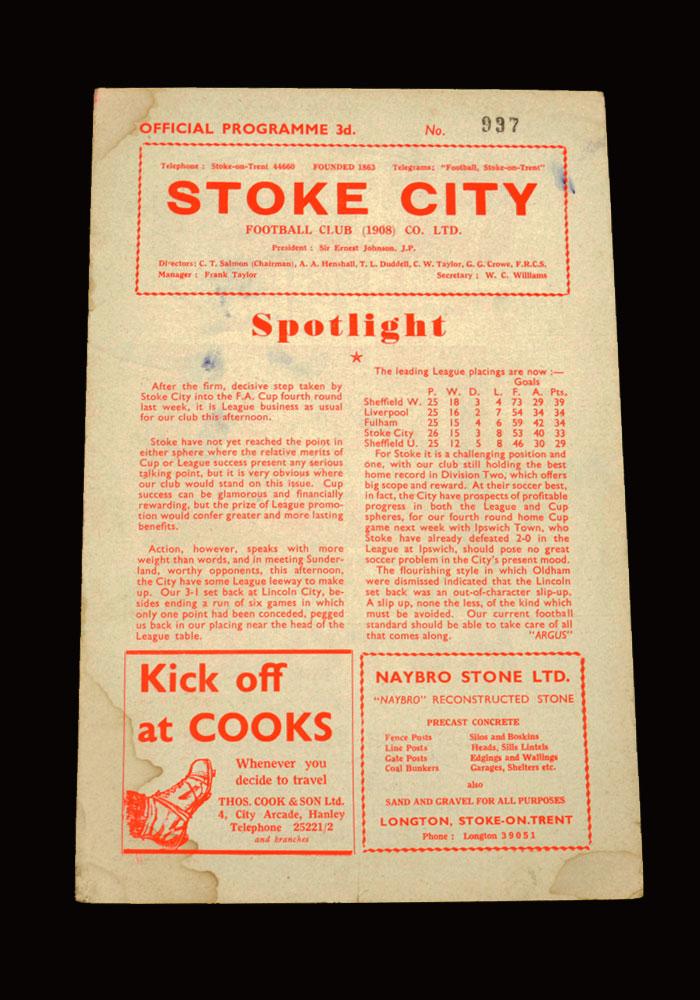 Sunderland v Stoke 17.01.1959 (postponed)
