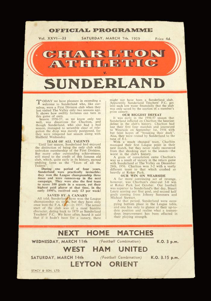 Sunderland v Charlton 07.03.1959