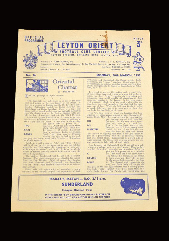 Sunderland v Leyton Orient 30.03.1959