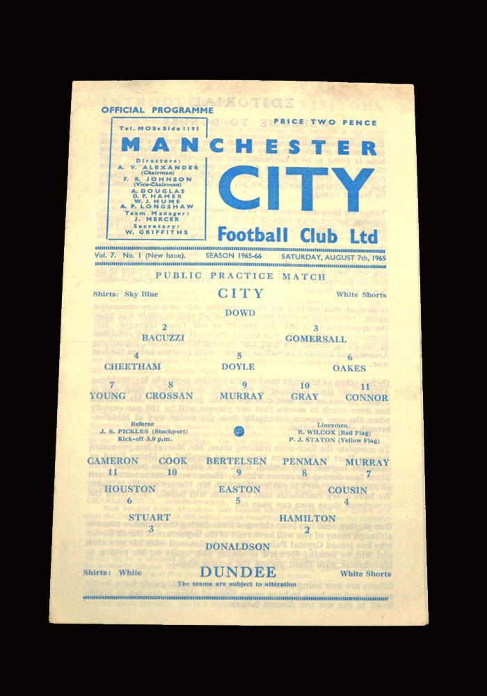 Man City v Dundee 07.08.1965 (friendly)