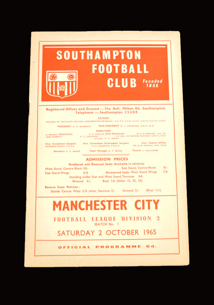Man City v Southampton 02.10.1965
