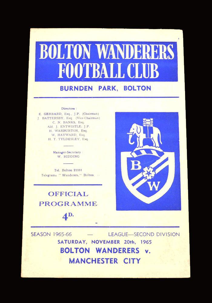 Man City v Bolton 20.11.1965