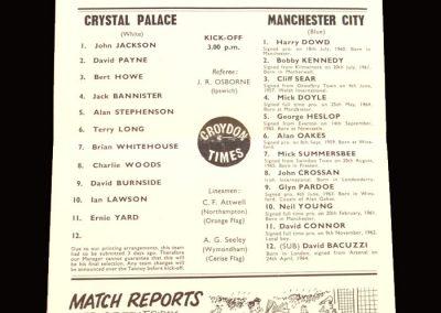 Man City v Crystal Palace 18.12.1965