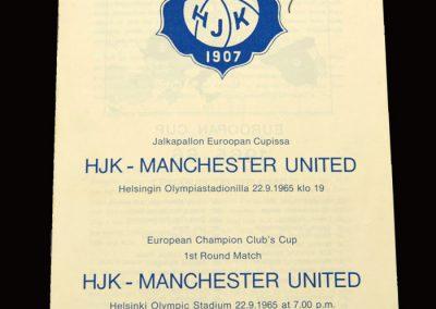Man Utd v HJK Helsinki 22.09.1965 - European Cup 1st Round 1st Leg