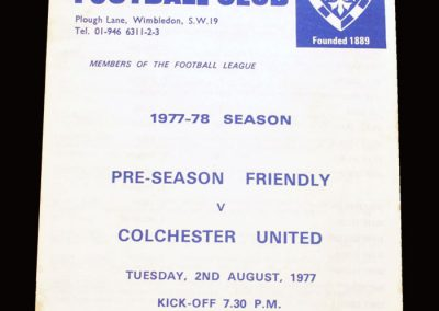 Wimbledon v Colchester 02.08.1977 (friendly)