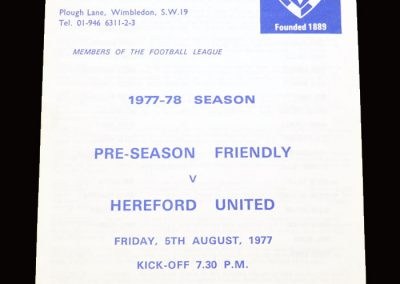 Wimbledon v Hereford 05.08.1977 (friendly)