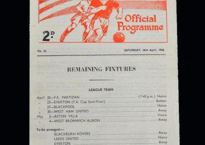 Man Utd Reserves v Bury Reserves 16.04.1966