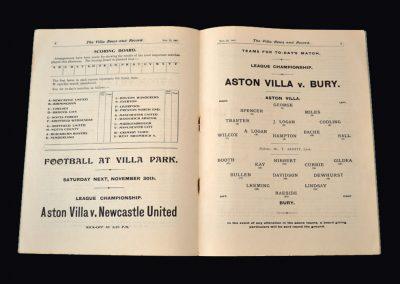 Aston Villa v Bury 23.11.1907