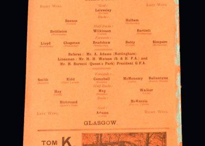 Sheffield v Glasgow 19.10.1908