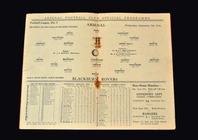 Arsenal v Blackburn 05.09.1934