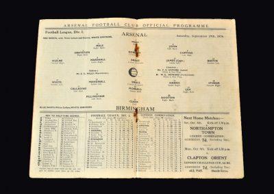 Arsenal v Birmingham 29.09.1934
