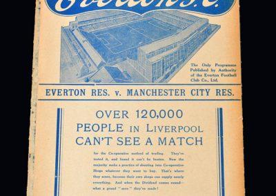 Everton Reserves v Man City Reserves 30.08.1937