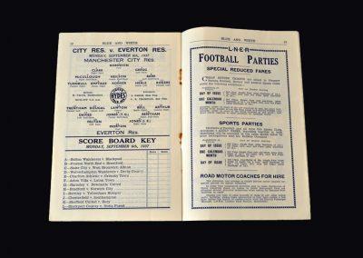 Man City Reserves v Everton Reserves 06.09.1937