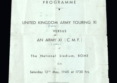 UK Army Touring 11 v Army 11 12.05.1945 in Rome