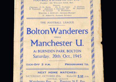 Man Utd v Bolton 20.10.1945